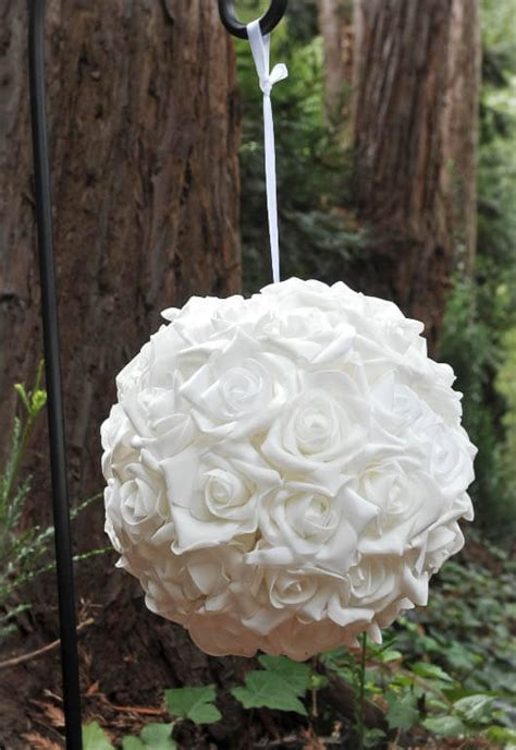 Hanging Natural Touch Rose Flower Ball White 10in, Wedding